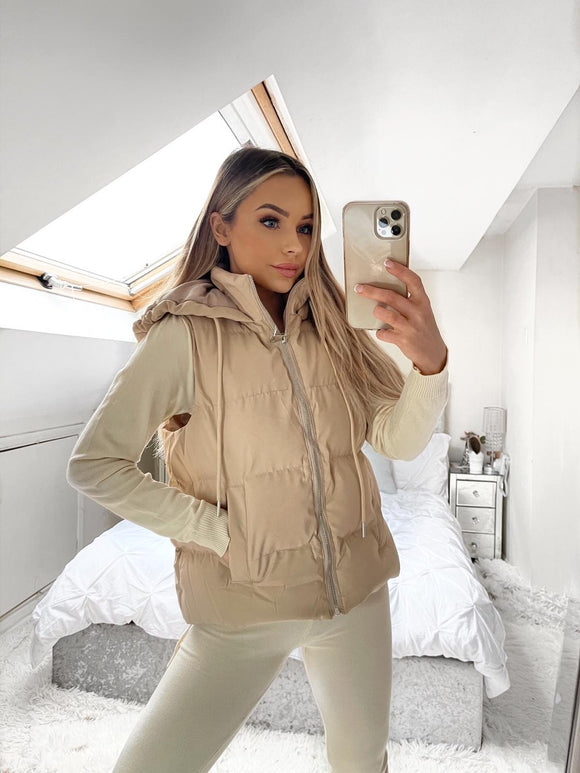 Lucia Padded Hooded Zip Up Gilet - Beige