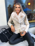 Leah Fur Biker Jacket - Cream