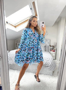 Charlotte Leopard Smock Dress - Blue