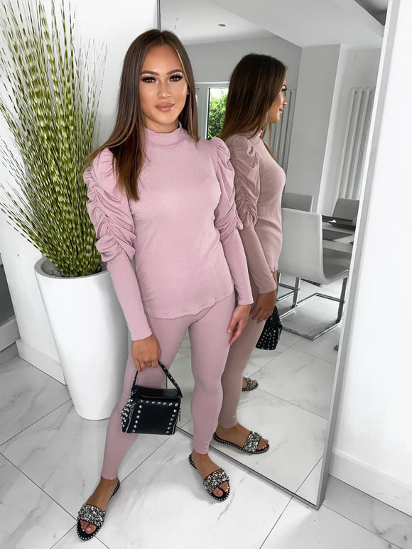 Carly Ribbed Puff Sleeve Lounge Set - Pink