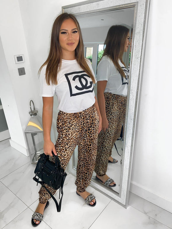 Ava Leopard Print Trousers - Brown