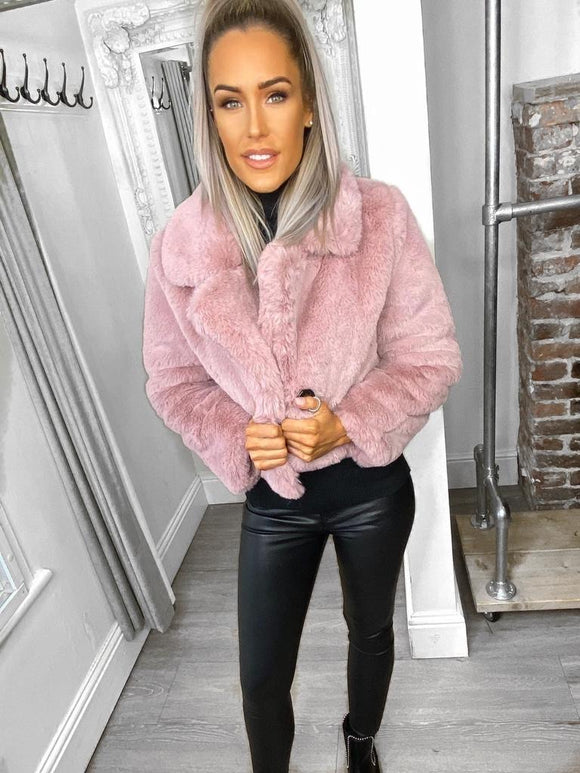 Cara Teddy Fur Cropped Jacket - Pink