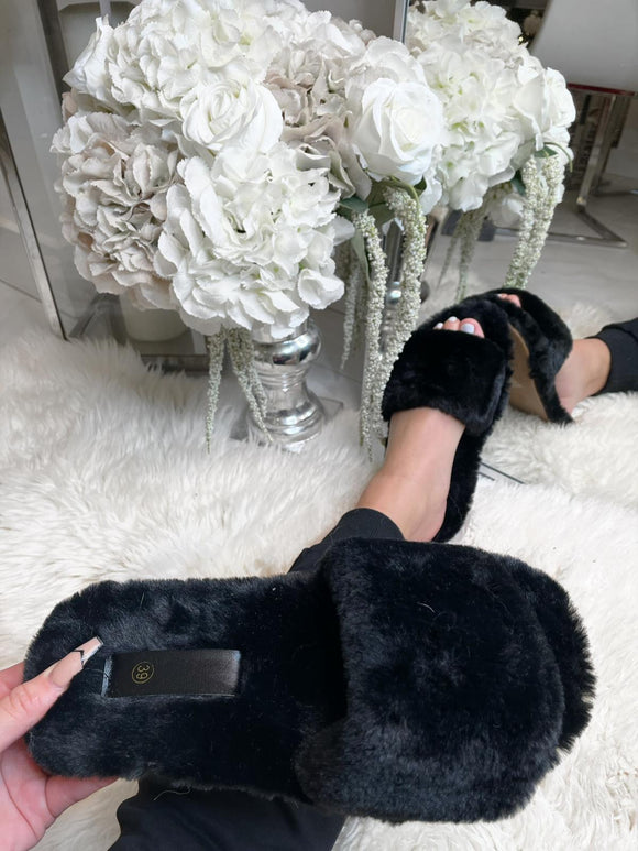 Ellie Fur Slippers - Black