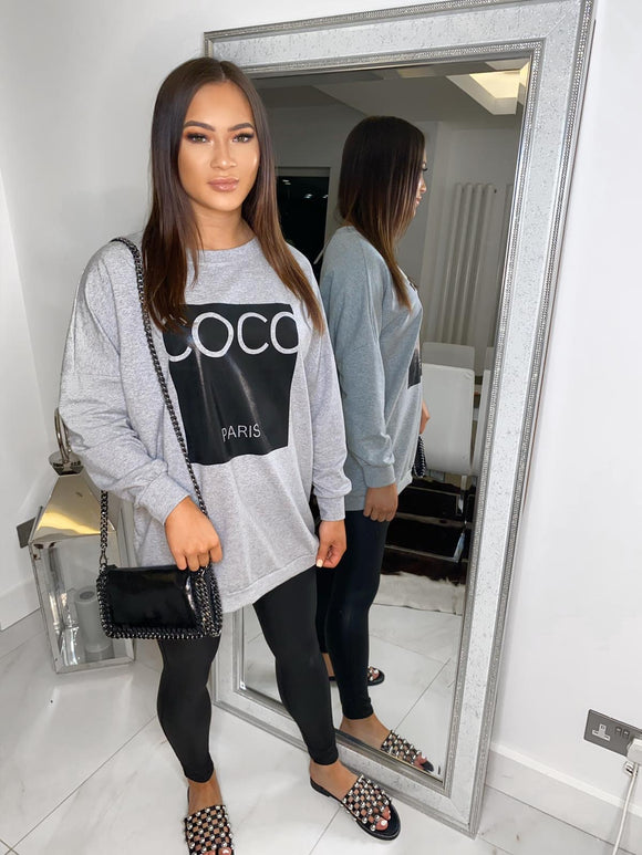 Coco Paris Oversized Jumper - Grey/Black