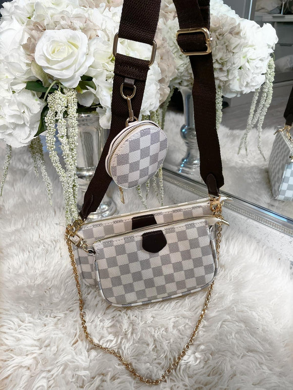 Layana Check Multi Accessories Pochette Bag - Beige