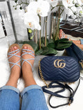 Grace Strappy Flat Sandals - Blue