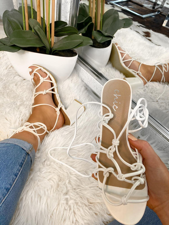 Ivy Tie Up Heels - White Leather