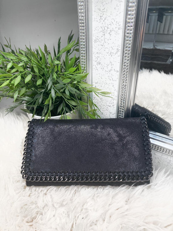 Emelie Clutch Chunky Chain Purse - Black