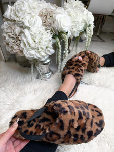 Ayla Fluffy Slippers - Leopard