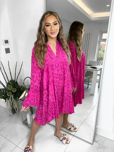 Amy Cheetah Print Smock Dress - Fuchsia