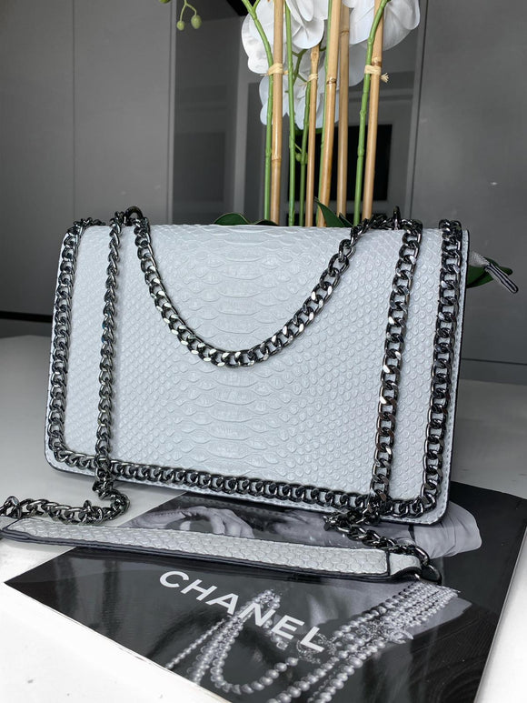 Araz Snake Effect Bag  - Light Grey