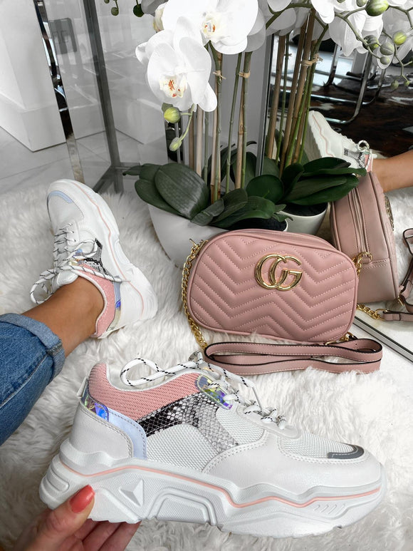 Quinn Snake Detail Chunky Trainers - Pink
