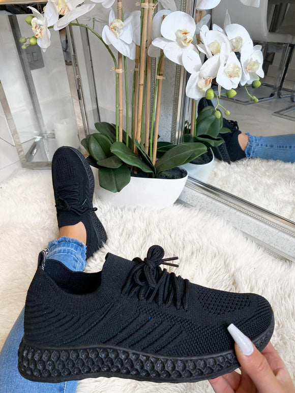 Shaughna Lace Up Mesh Sock Trainers - Black