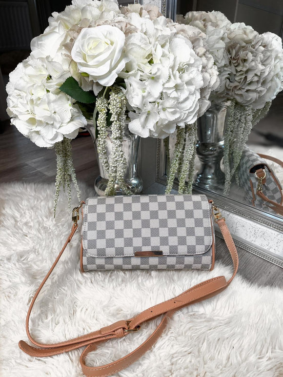 Joanna Checked Clutch Bag -  White/Grey