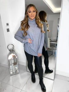 Anne Ribbed Knitted Jumper - Grey