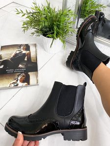 Kenzie Brogue Ankle Boots - Black