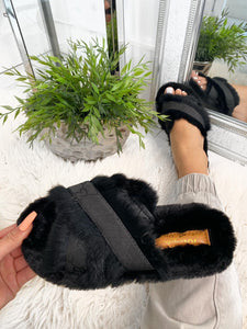 Georgia Fur Detail Slippers - Black
