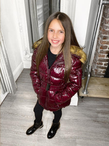 Abbie Belted Metallic Kids Coat - Wine