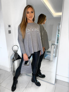J'adore Paris Sequin Detail Jumper - Grey