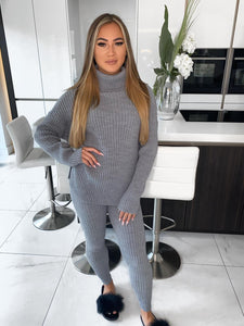 Marissa Polo Neck Knitted Loungeset - Grey