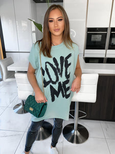 Love Me Oversized Tee - Olive Green