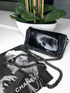 Ruby Real Leather Clutch Small Bag - Black