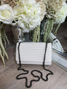 Riri Studded Long Chain Bag - White