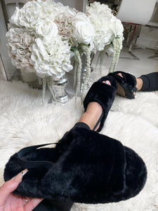 Ayla Fluffy Slippers - Black