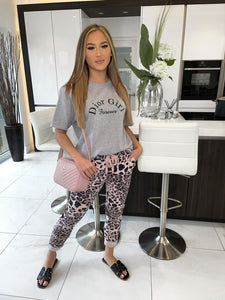 Lucy Magic Denim Look Trousers - Pink Leopard