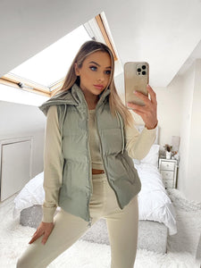 Lucia Padded Zip Up Gilet - Mint