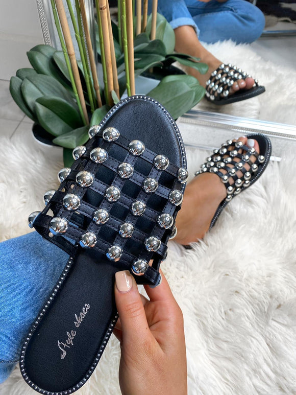 Eva Studded Caged Sliders - Black Leather