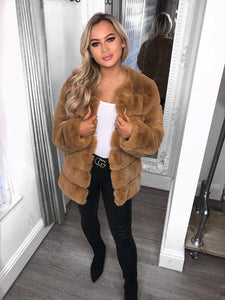 Lola Snuggle Faux Fur Coat - Camel