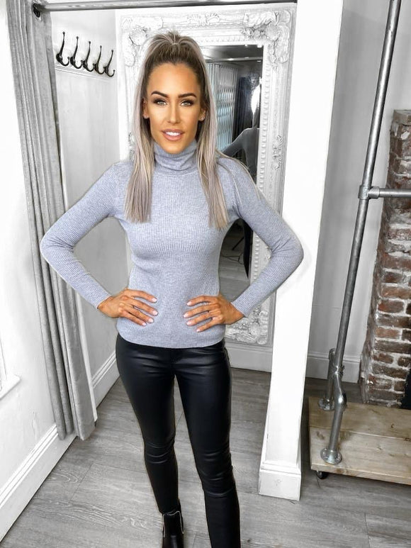 Claire Ribbed High Neck Polo Top - Grey