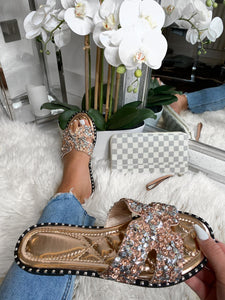 Nora Embellished Sliders - Champagne