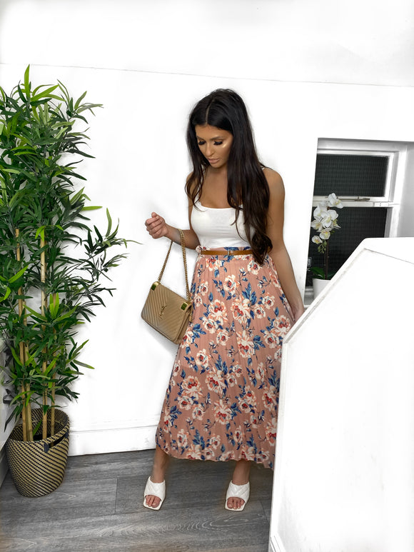 Cassie Pleated Floral Midi Skirt - Peach