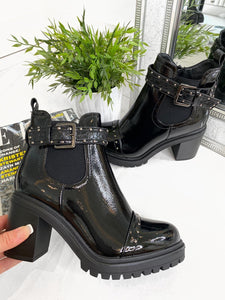 Kelly Croc Buckle Detail Ankle Boots - Black Patent