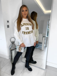 Amour Is French Sequin Jumper - White