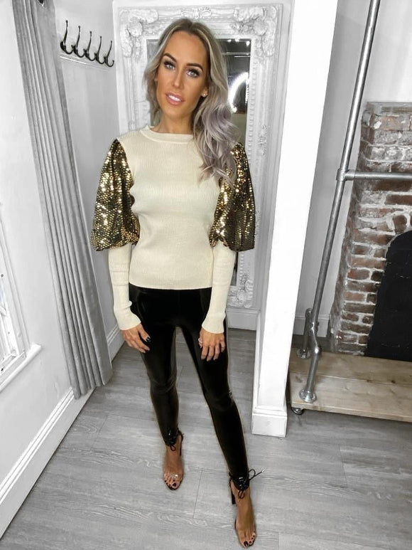 Issy Beige/Gold Sequin Arm Detail Jumper
