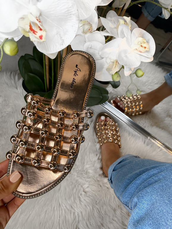 Eva Studded Caged Sliders - Rose Gold Leather