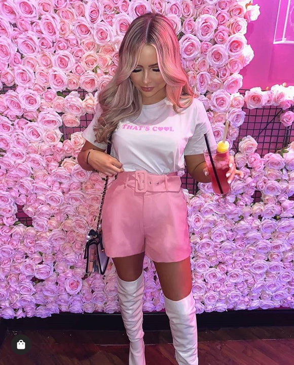 Belted Tailored Shorts - Rose
