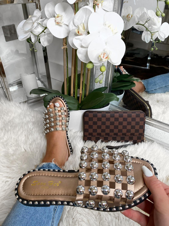 Ashlyn Caged Studded Sliders - Rose Gold