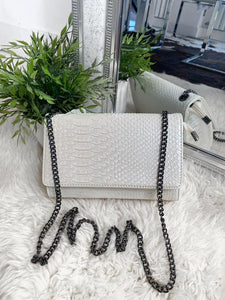 Cora Snake Detail Bag - White