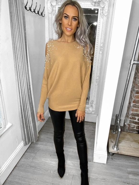 Skye Embellished Cold Shoulder Jumper - Beige