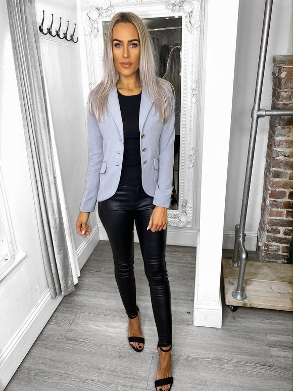Alexis Gold Button Blazer - Grey