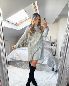 Amy Cable Knit Tassel Jumper Dress - Grey