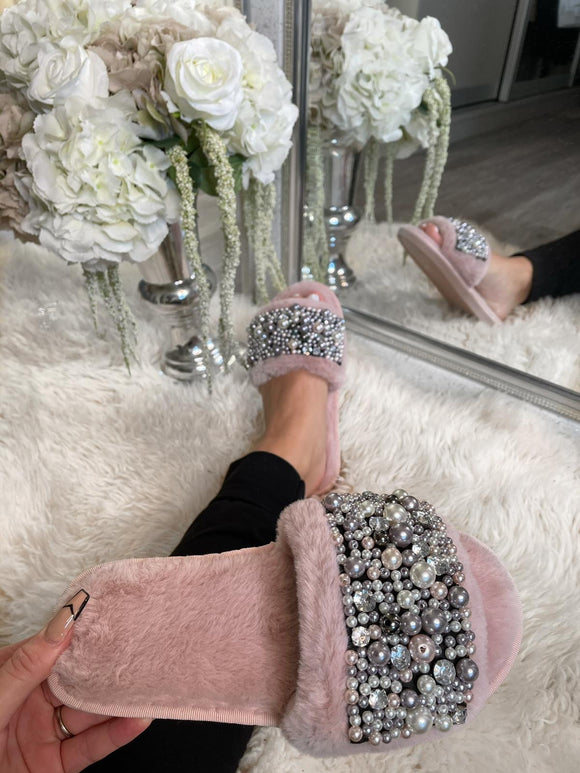 Alaya Embellished Slippers - Pink