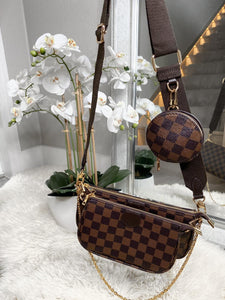 Layana Check Multi Accessories Pochette Bag - Brown