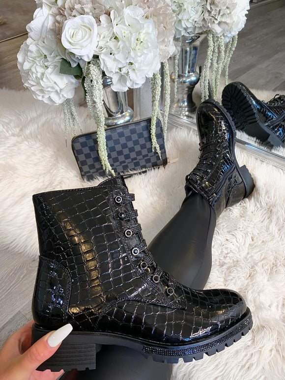 Ruby Jewel Lace Ankle Boot - All Black Croc Patent Leather