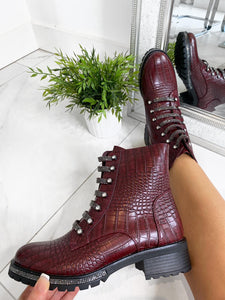 Ruby Jewel Lace Ankle Boot - Wine Croc Leather