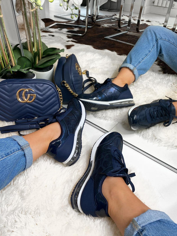 Talia Snake Detail Chunky Trainers - Navy